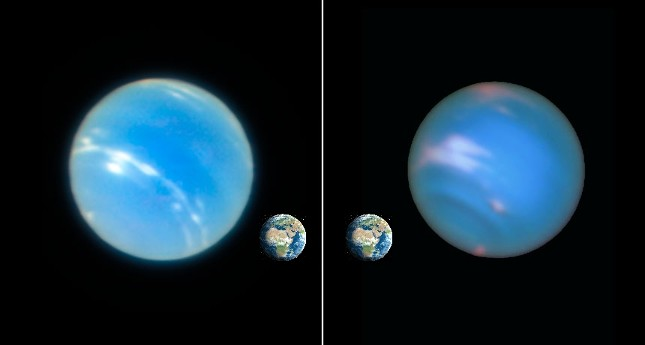 SHARP EYES  A new strategy at the Very Large Telescope in Chile lets the ground-based observatory take visible light images of Neptune (left) that rival those from the Hubble Space Telescope (right) in clarity.
